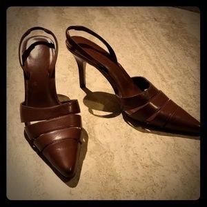 Karen Scott Brown Leather Slingback Sandals